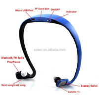 sports wireless bluetooth headset music mp3 player with usb port for car