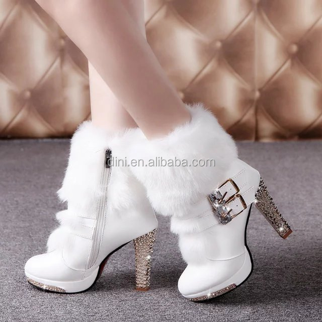 2017 Winter Fur <strong>Boots</strong> Women's Plush Warm Platform Ankle <strong>Boots</strong> Shoe side zipper buckle Woman High Heels fashion Shoes Black White