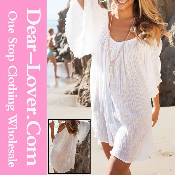 Sexy Girls White Ruffled Sundress Beachwear