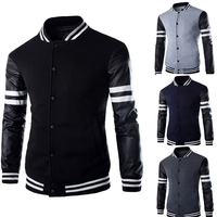 Men's leather sleeve splicing letter print casual zipper jackets coat