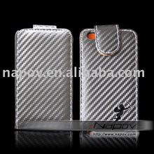 PC+PU for iPod Touch 4g flip case, Carbon Fiber Case high quality