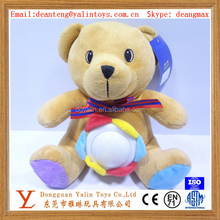 Eco-friendly plush stuffed cute teddy bear with LED light toy for kids