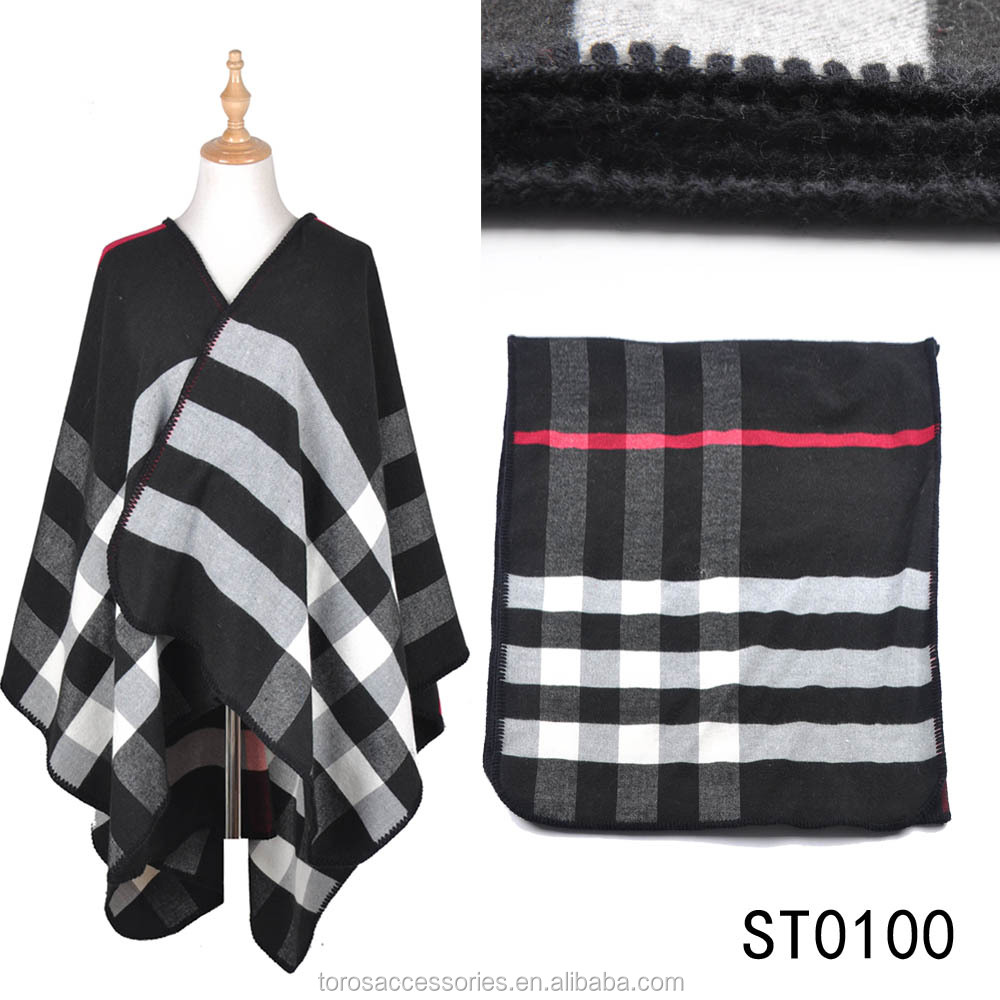 TOROS Stock plaid cape winter womens poncho