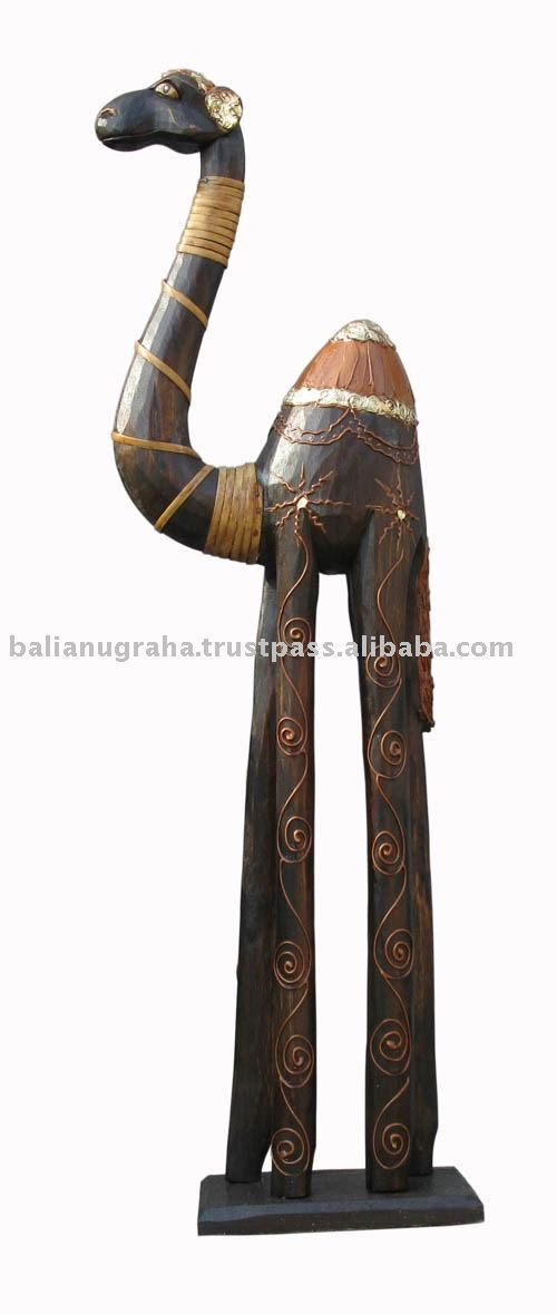 wood Carving Standing Camel