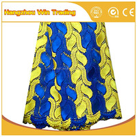 Wholesale Aso Ebi in Royal Blue African Lace Fabrics Guipure for Nigeria