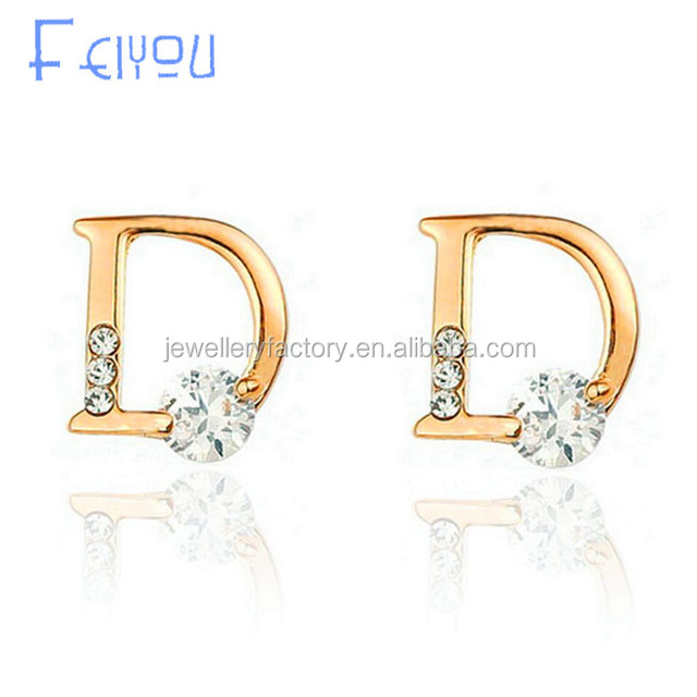 Fashion Fine Jewelry Sparkling Gold Color Zircon Letter D Individuality Stud Earrings For Women Girl Gifts