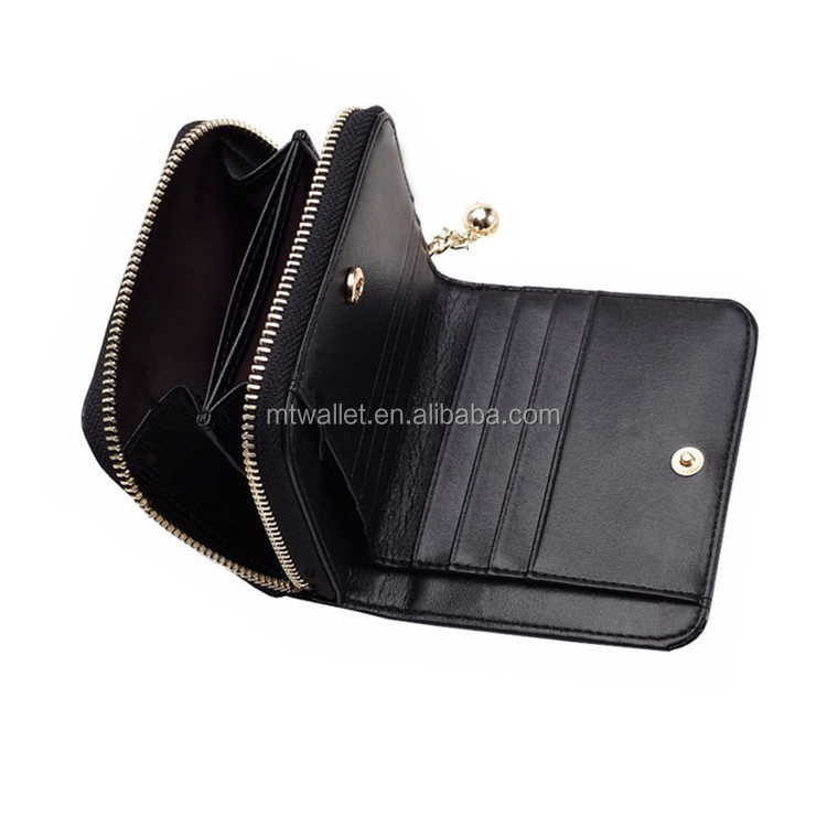 Leather Mini Women Wallet Zipper Around Wallet / Leather Wallet Women / Famous Brand Wallet