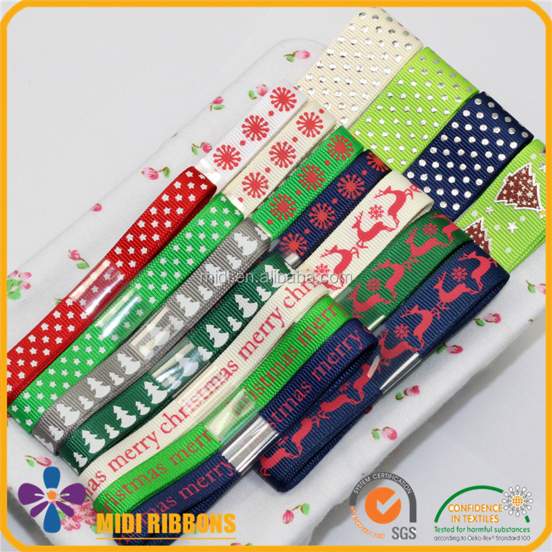Custom Logo Print Decorative Christmas Ribbon Boutique Ribbon Pack