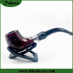 Fancy Portable Brown Briar Tobacco Pipe Bent Chinese Carved Wood Smoke Pipe