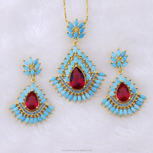 Hot selling beautiful turquoise lady wedding jewelry african beads jewelry set