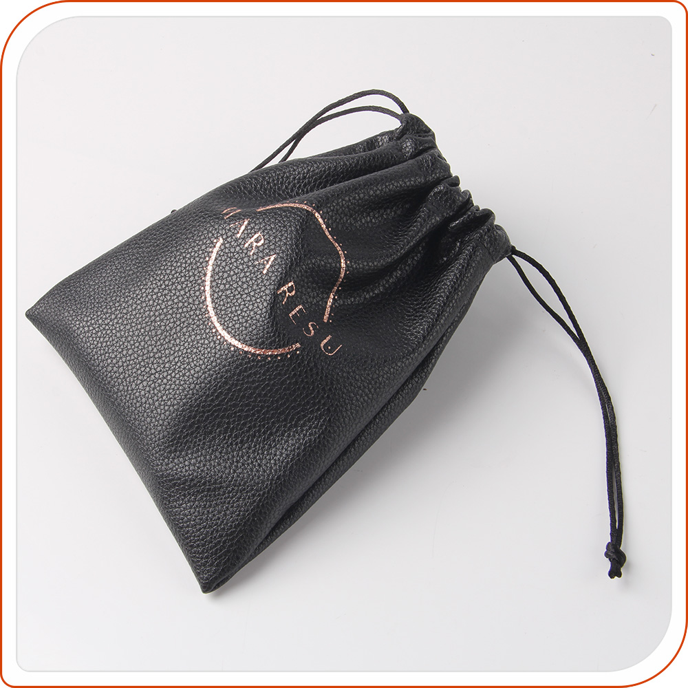 Round bottom drawstring pu jewelry pouch bag with embossed logo