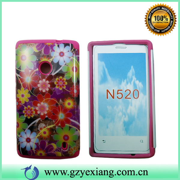 Custom made PC silicon phone case for nokia lumia 520 combo case design