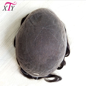 Bleached Knots Swiss Lace Human Hair Mens Toupees On Stock