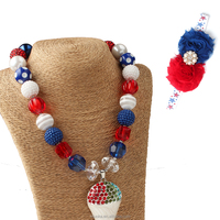 4th Of July chunky bubblegum necklace red wholesale chunky statement necklace in china