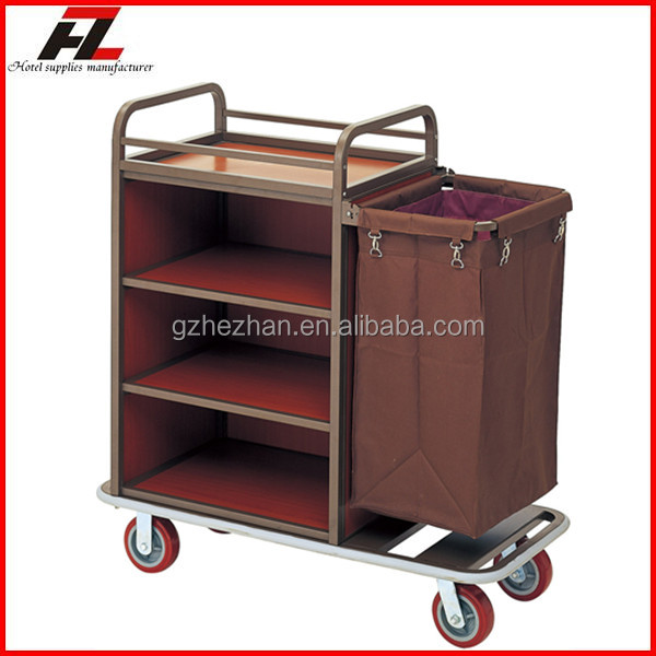 Hotel single sided metal linen laundry cart with wheels for Hotel room service cart