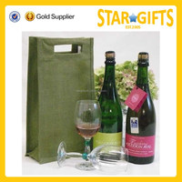 Chinese Factory Supply Die-Cut Handles Cheap Two Bottle Jute Wine bag