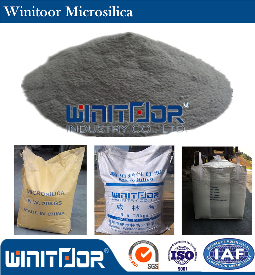 Grey powder high pozzolanic 25KG packing Singapore market concrete chemical readymix purpose densified 92% SiO2 microsilica
