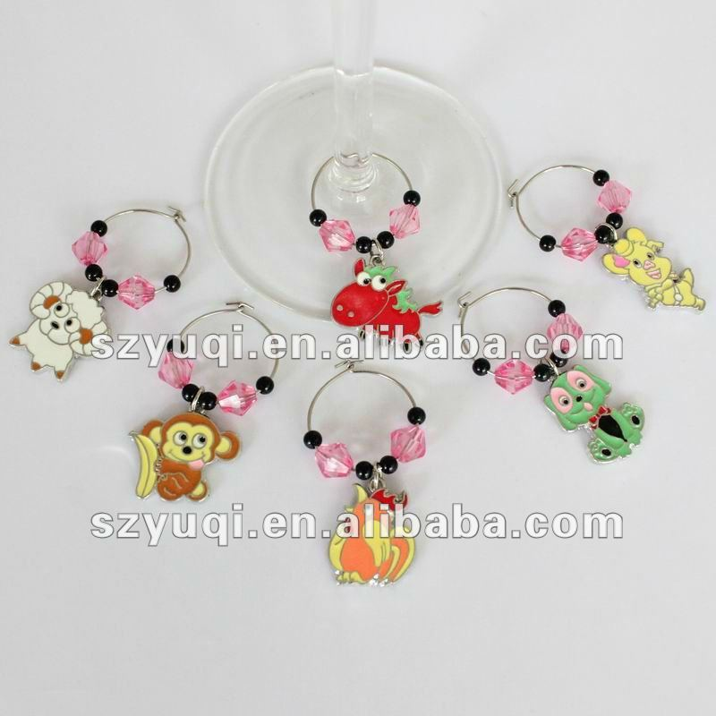 Cute Chinese zodiac animal wine jewelry;wine ornament