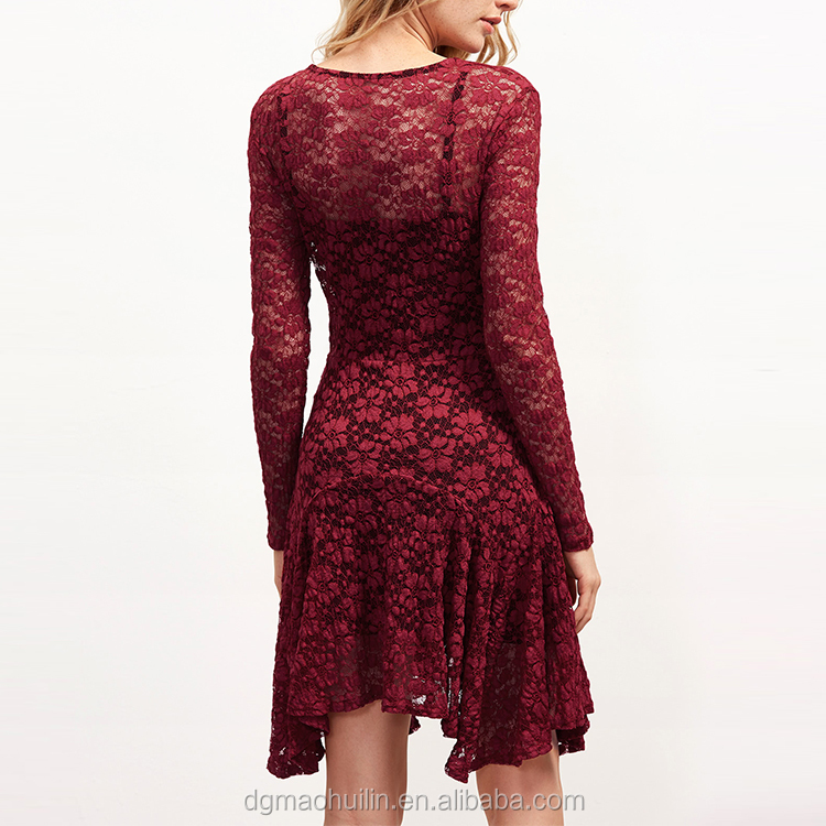 Burgundy floral lace long sleeve asymmetrical nylon dress with cami