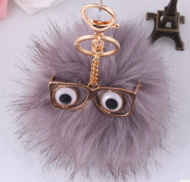 2017 imitation rabbit fox fur ball bag charms accessories heart fur ball pom pom keychain faux fur ball keychain gifts