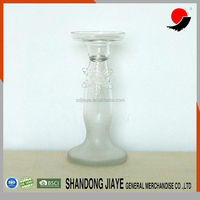 Silver Glass Taper Candle Holder with Snowflake Hanging for Decoration