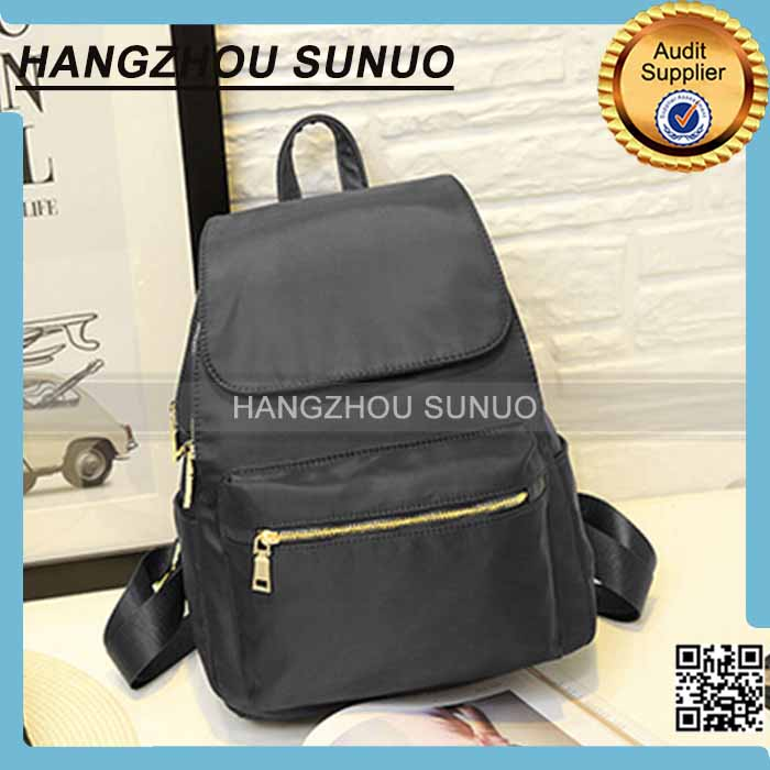 Black Fashionable Zipper Lock ladies backpack
