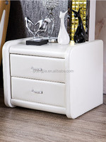 Modern Design Two Drawer White PVC Bedside Table LB735