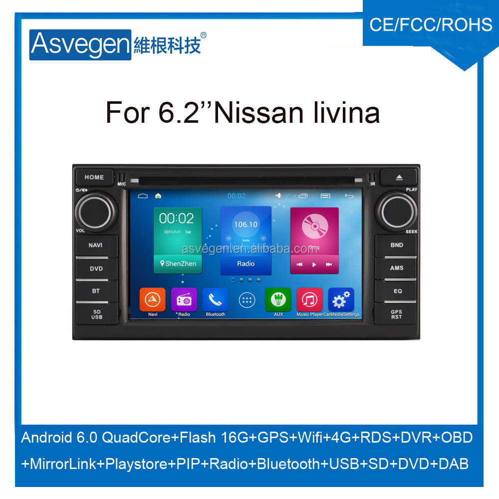 Wholesale Android Car DVD Player For 6.2'' Nissan Livina GPS Support Buletooth Radio Wifi Playstore With Auto Spare Parts Car