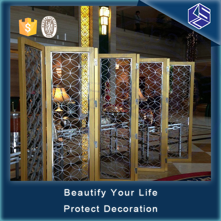 Best quality stainless steel decorative free standing room divider for hotel