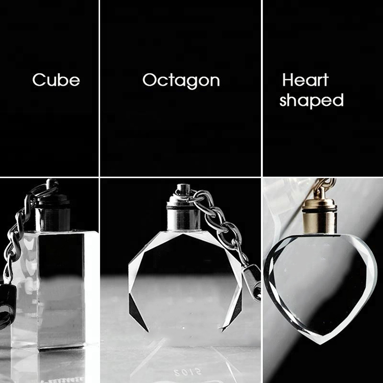 New Arrive Best quality Crystal gifts souvenirs,3D Engrave logo crystal keychain led,with LED engraved crystal key chain