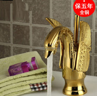 hotel brass dual lever washbasin gold pvc swan basin faucet with ceramic cartridge
