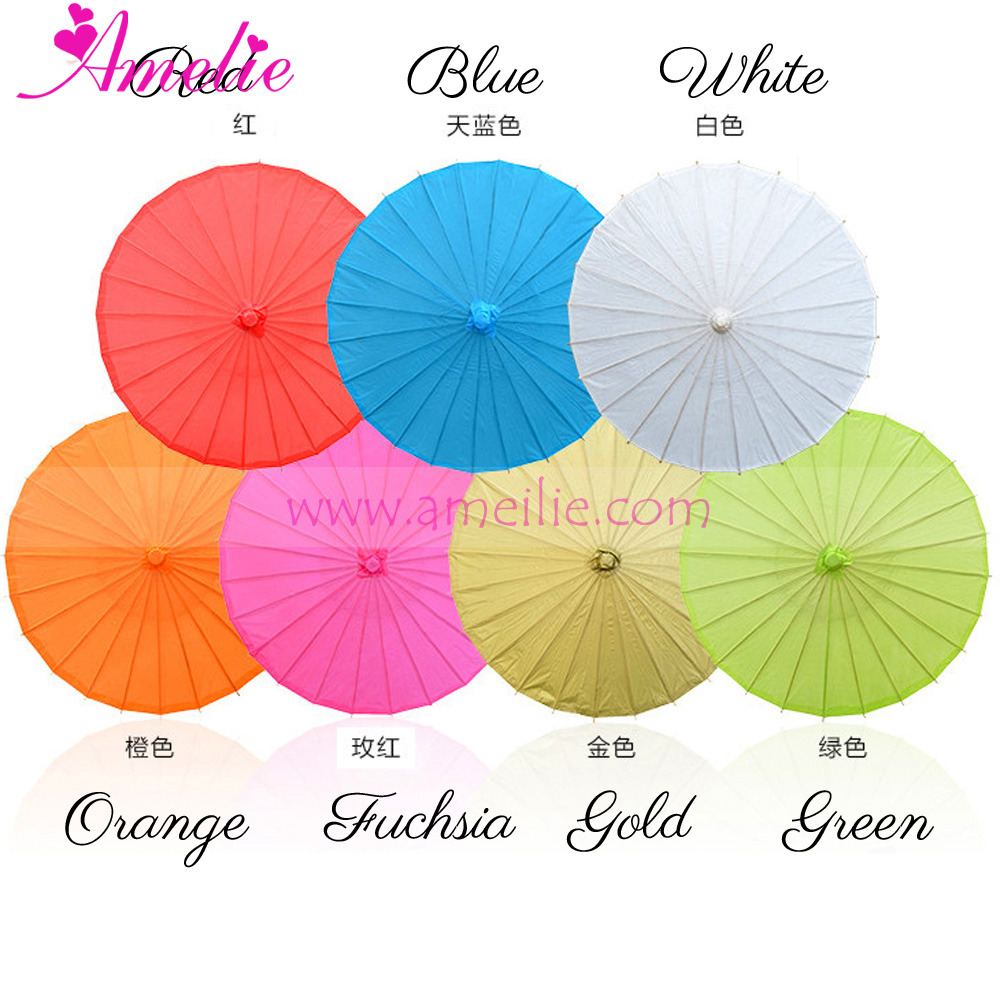 A0389 32 inches Wholesale Stock White Paper Umbrella Parasol