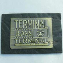 fake clothing jeans patches leather metal tags