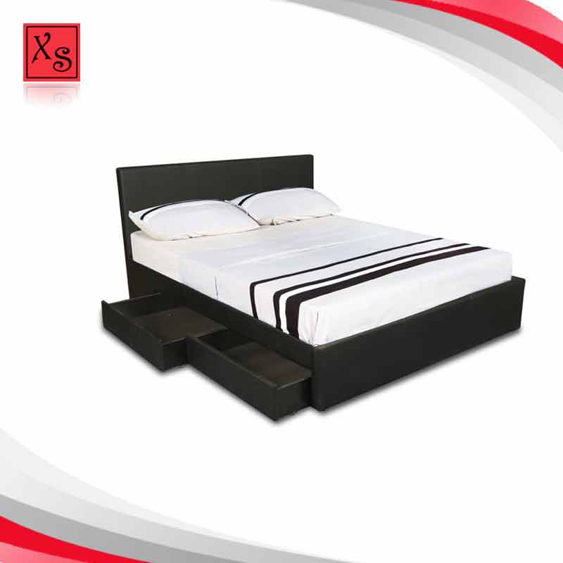 Modern bedroom set wood double bed designs with box