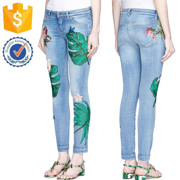 Sequin Embroidery Skinny Blue Cotton Denim With Slight Stretch And Wash Manufacturer Fashion Women Apparel (TF0011J)