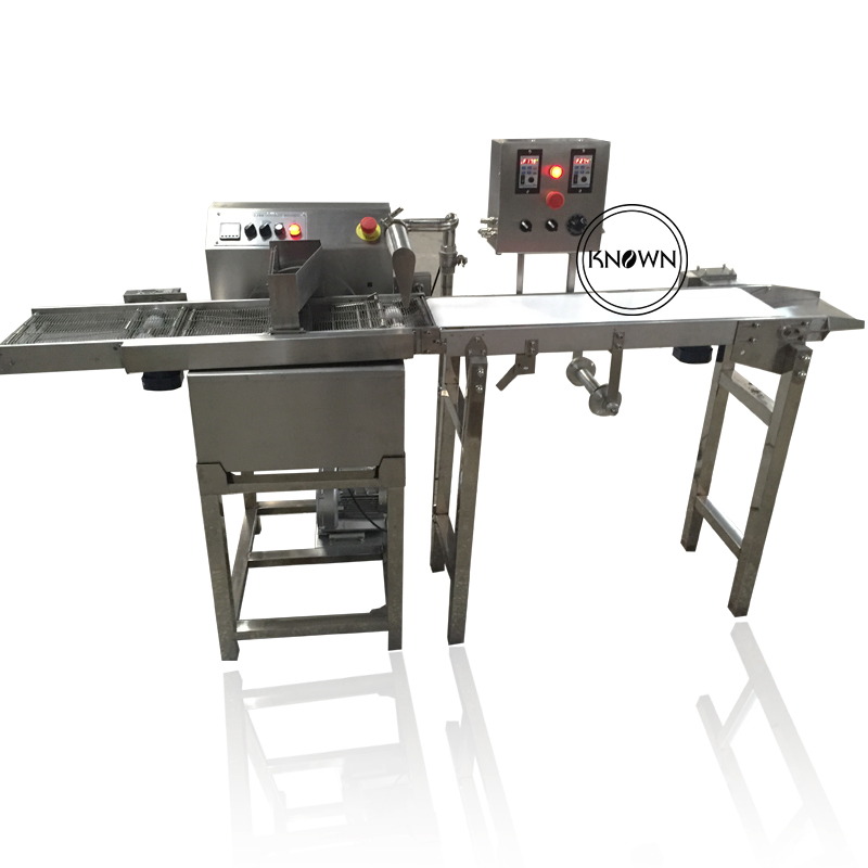 Automatic <strong>110</strong> / 220V 15kg chocolate enrobing machine peanut nuts chocolate candy coating machine
