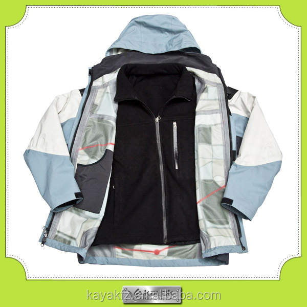 custom made high quality fleece waterproof two jacket in one
