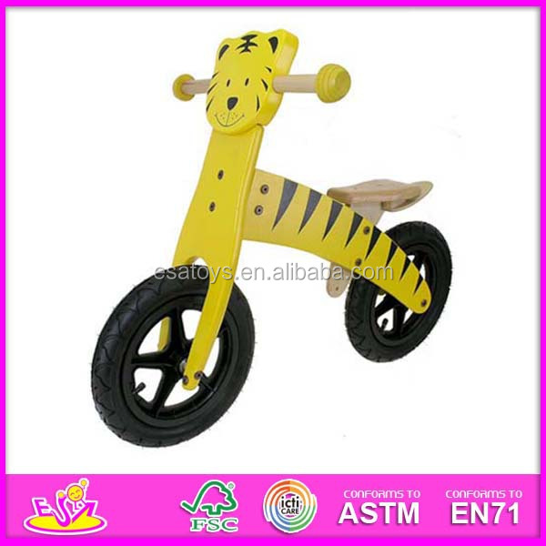 2015 New children wooden bicycle,popular kids cartoon wood bike,high quality wooden balance bike WJ277574