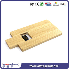 Newest style card shape nature wooden usb drive, card type usb flash drive