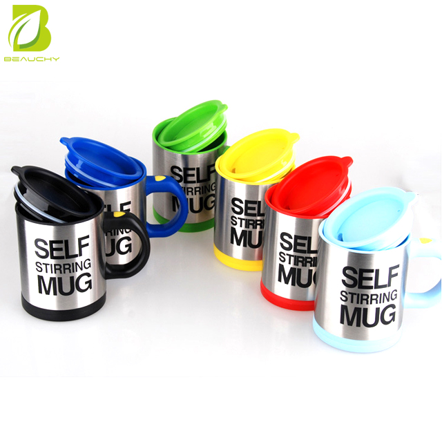 Coffee or tea drinking convenient branded printed plastic self stirring mug