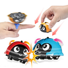 Cartoon Plastic Car Toy Mini Finger Stunt Battle Spinning Top