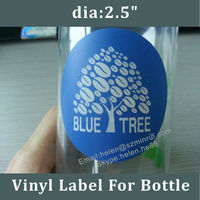 "Self Adhesive Waterproof Vinyl Labels For Plastic Bottles,2.5"" Round Blue Logo Sticker Printing"