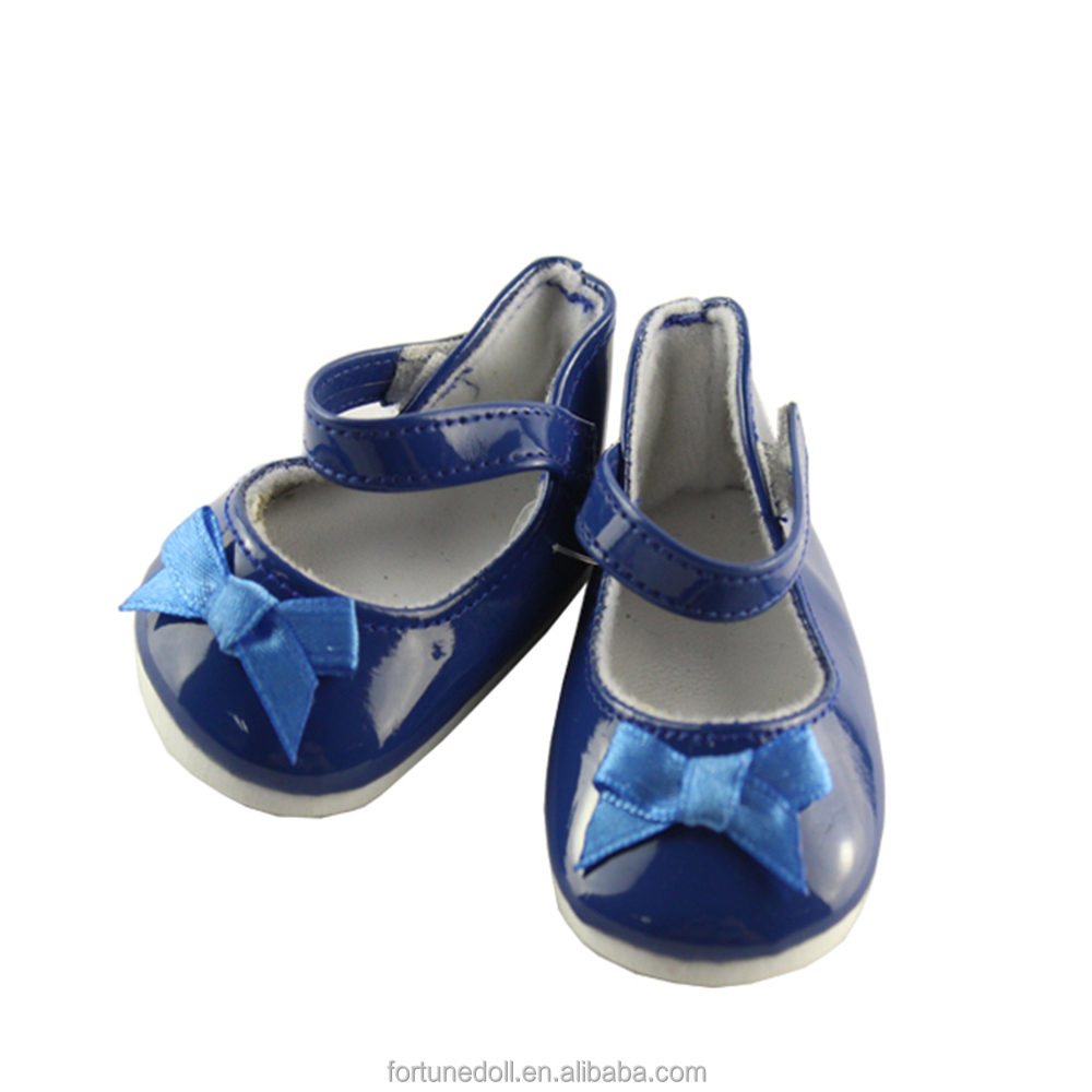 JC008-doll shoes-18 inch doll shining surface blue bow flat-18 inch doll clothes factory