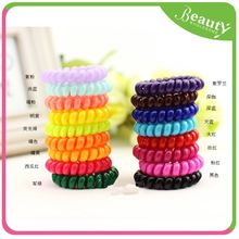 multicolor fabric material hair rubber band ,H0T044 practical hair tie , plastic spiral band