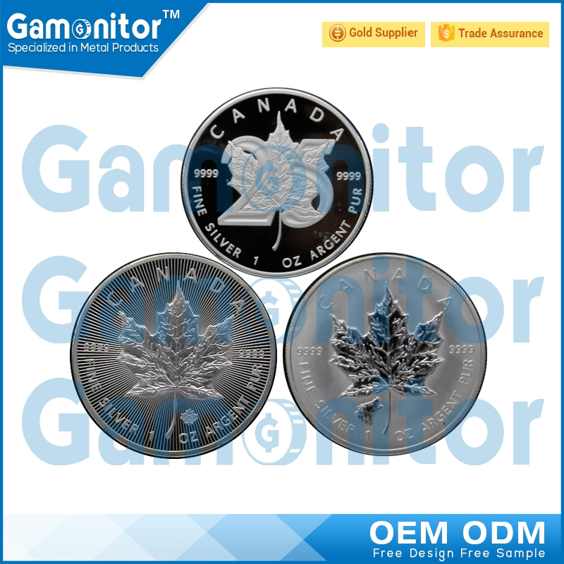 Customized 2015/2016 1 oz/ one ounce Silver Gold Plated Maple Leaf Replica Coins For Sale
