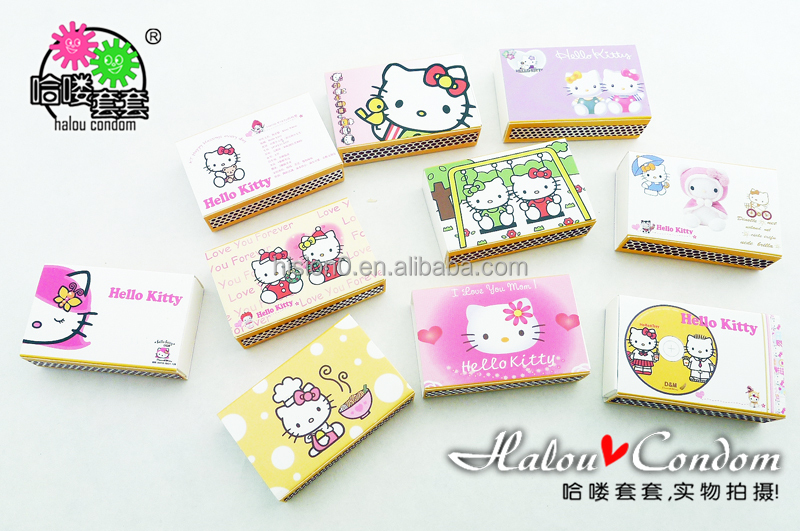 Lovely Hello Kitty Match Box Package New Style Distinctive Condom Long Lasting Latex Condom Sex Toy For Adult Stimulating