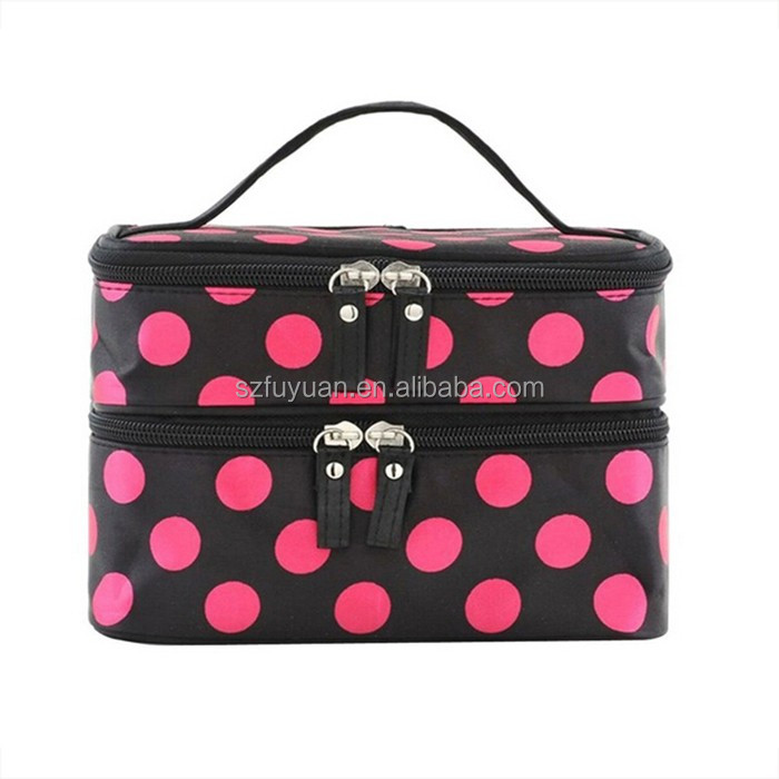 Hot popular polka dots print two layer microfiber hard case cosmetic bag makeup bag with mirror in flap