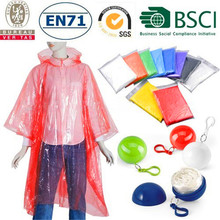 2017 Pe Cheap Clear Emergency Disposable Custom Rain Poncho,Rainwear,Raincoat