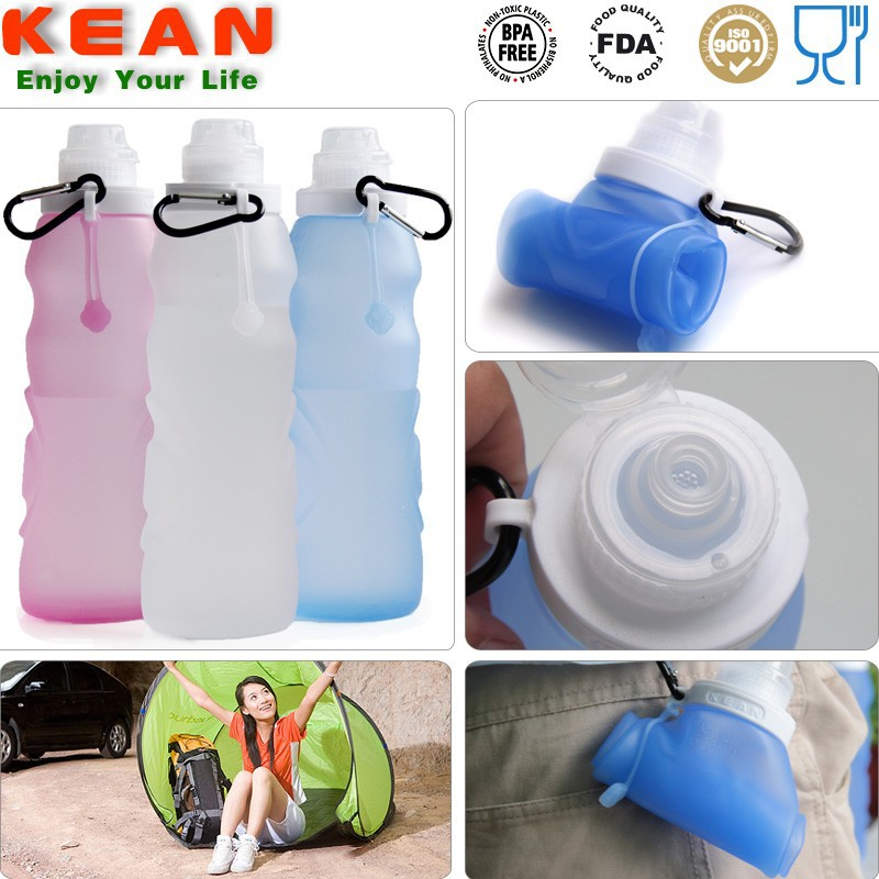 Food Grade Liquid Silicone Foldable Distributors Water Bottle