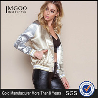 MGOO 2016 New Arrival Gold Silky Bomber Jackets For Women Stage Clothing Fashion Brand Women Outwear